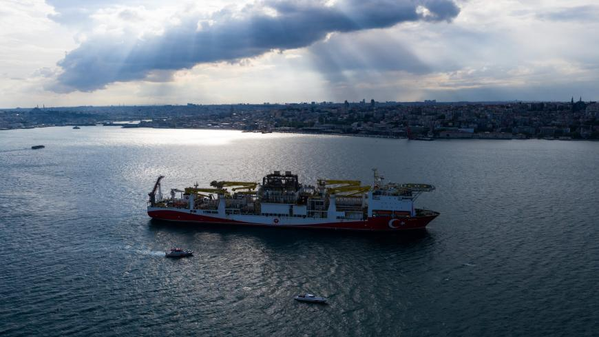 ISTANBUL, TURKEY - MAY 29: In this aerial photo taken with a drone, Turkish drilling vessel 'Fatih' sails up the Bosphorus towards the Black Sea on May 29, 2020 in Istanbul, Turkey. (Photo by Burak Kara/Getty Images)
