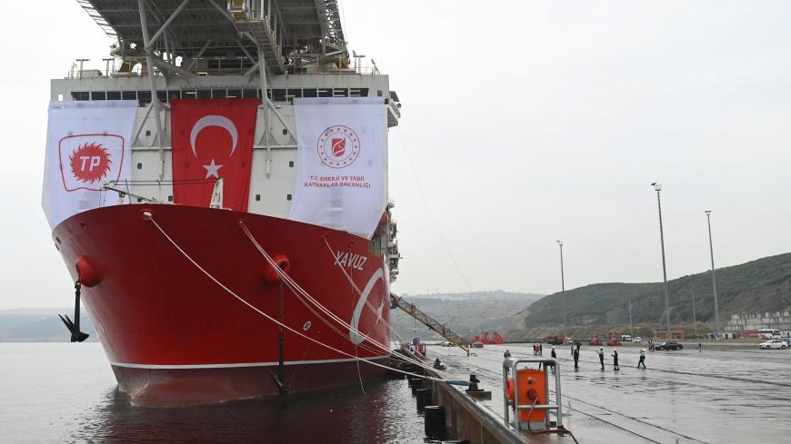 "A picture taken at the port of Dilovasi, outside Istanbul, on June 20, 2019 shows the drilling ship 'Yavuz' scheduled to search for oil and gas off Cyprus. - Turkey is set to send a new ship on June 20 to search for oil and gas off Cyprus, in a move expected to escalate tensions after the EU called on Ankara to stop its ""illegal drilling activities"". The region near the divided island is believed have rich natural gas deposits, triggering a race between Turkey and the internationally recognised Cyprus, whic"
