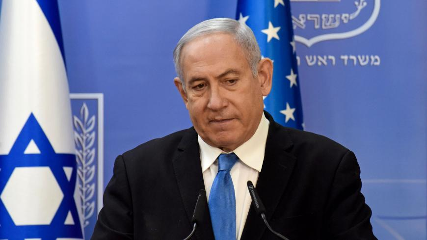 Israeli Prime Minister Benjamin Netanyahu speaks during a joint statement to the press with US Secretary of State Mike Pompeo (unseen) after meeting in Jerusalem, on August 24, 2020. - Pompeo arrived in Israel kicking off a five-day visit to the Middle East which will take him to Sudan, the United Arab Emirates, and Bahrain, focusing on Israel's normalising of ties with the UAE and pushing other Arab states to follow suit. (Photo by DEBBIE HILL / various sources / AFP) (Photo by DEBBIE HILL/AFP via Getty Im