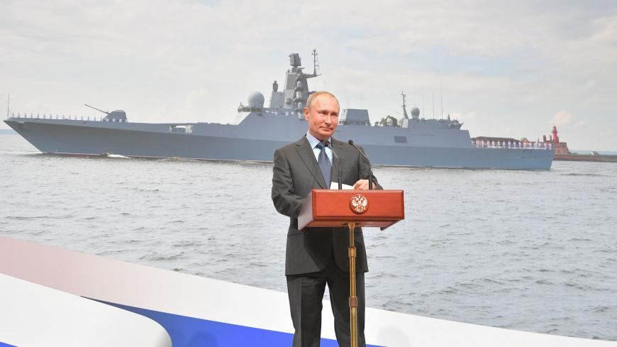 Russian President Vladimir Putin gives a speech during the keel laying ceremony for the two new frigates Admiral Amelko and Admiral Chichagov at the Severnaya (Northern) Verf shipyard in Saint Petersburg on April 23, 2019. (Photo by Alexei Druzhinin / SPUTNIK / AFP)        (Photo credit should read ALEXEI DRUZHININ/AFP via Getty Images)