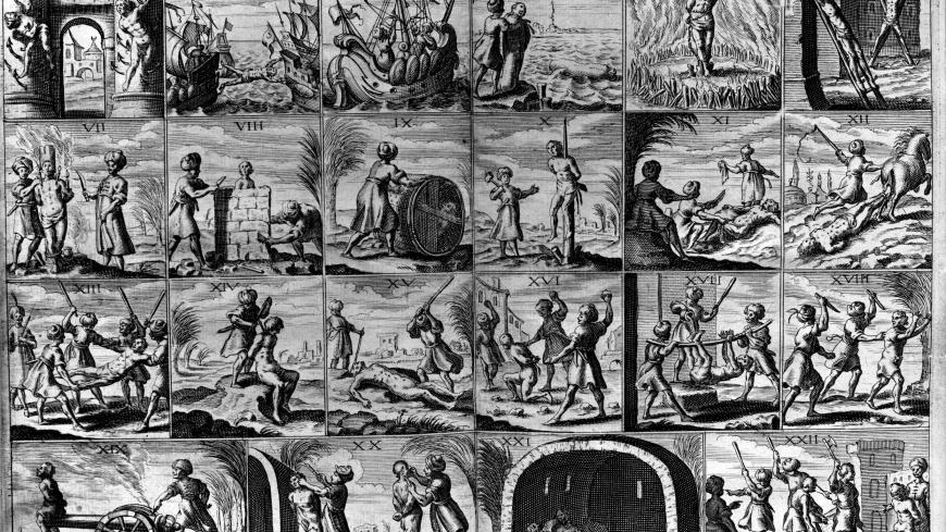 Circa 1635, Twenty two different tortures inflicted on Christian slaves in the Barbary States of North Africa in the 1600's. Original Publication: From 'Histoire de Barbarie' by Dan, published in 1637. (Photo by Hulton Archive/Getty Images)
