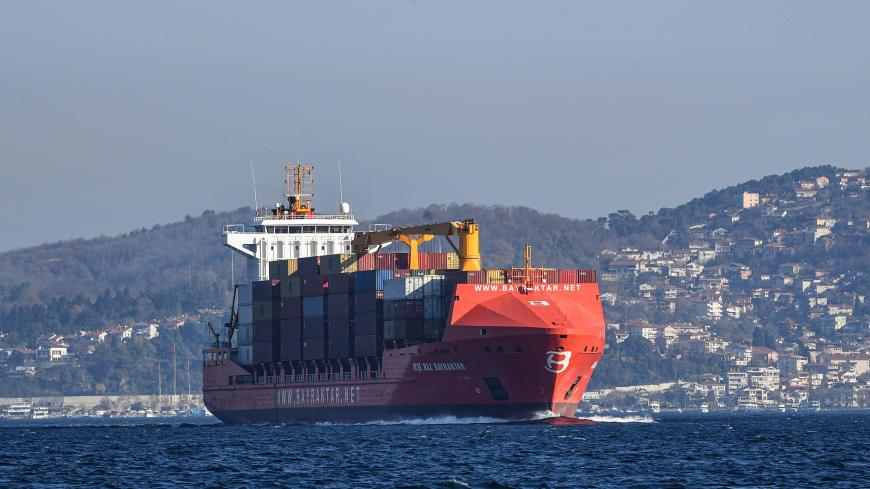 A container ship sails to marmara sea on December 18, 2019 in Istanbul. (Photo by Ozan KOSE / AFP) (Photo by OZAN KOSE/AFP via Getty Images)