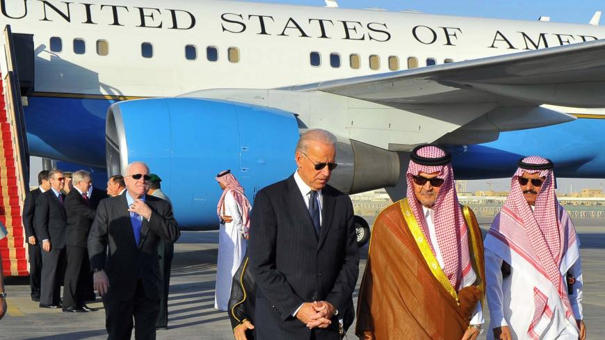 Saudi Foreign Minister Prince Saud al-Faisal  (2nd R) welcomes US Vice President Joe Biden (C) at the Riyadh airbase on October 27, 2011, upon his arrival in the Saudi capital with a US official delegation to offer condolences to the King Abdullah bin Abdul Aziz following the death of his brother, Crown Prince Sultan.  AFP PHOTO/STR (Photo credit should read -/AFP via Getty Images)