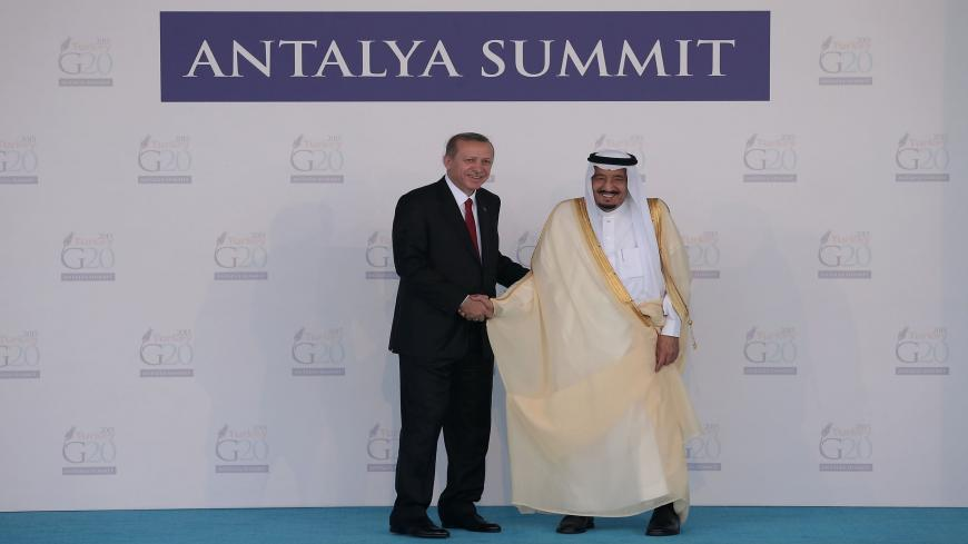 ANTALYA, TURKEY - NOVEMBER 15:  Turkish President Recep Tayyip Erdogan (L) greets Saudi Arabia's King Salman bin Abdulaziz during the official welcome ceremony on day one of the G20 Turkey Leaders Summit on November 15, 2015 in Antalya, Turkey. World leaders will use the summit to discuss issues including, climate change, the global economy, the refugee crisis and terrorism. The two day summit takes place in the wake of the massive terrorist attack in Paris which killed more than 120 people.  (Photo by Chri