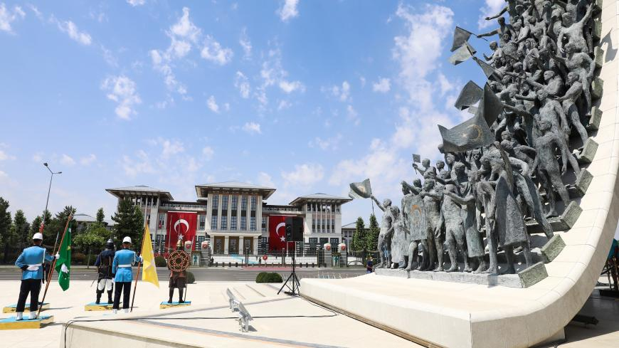A photograph taken on July 15, 2020 shows the July 15 Monument, in Ankara, during the July 15 Democracy and National Unity Day's events held to mark the fourth anniversary of the failed coup. - A photograph taken on July 15, 2020 shows the (Photo by Adem ALTAN / AFP) (Photo by ADEM ALTAN/AFP via Getty Images)