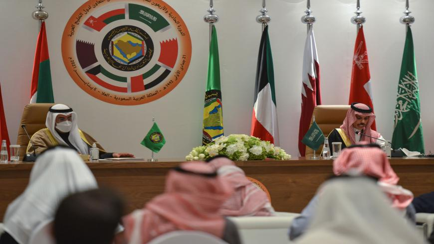 "Saudi Foreign Minister Faisal bin Farhan al-Saud (R) and Secretray General of the Gulf Cooperation Council Nayef bin Falah Al-Hajraf, hold a press conferece at the end of the GCC's 41st summit, in the city of al-Ula in northwestern Saudi Arabia on January 5, 2021. - Gulf leaders signed a ""solidarity and stability"" deal after the leaders of Saudi Arabia and Qatar publicly embraced, bringing Doha back into the regional fold after a three-year rift. (Photo by FAYEZ NURELDINE / AFP) (Photo by FAYEZ NURELDINE/AF"