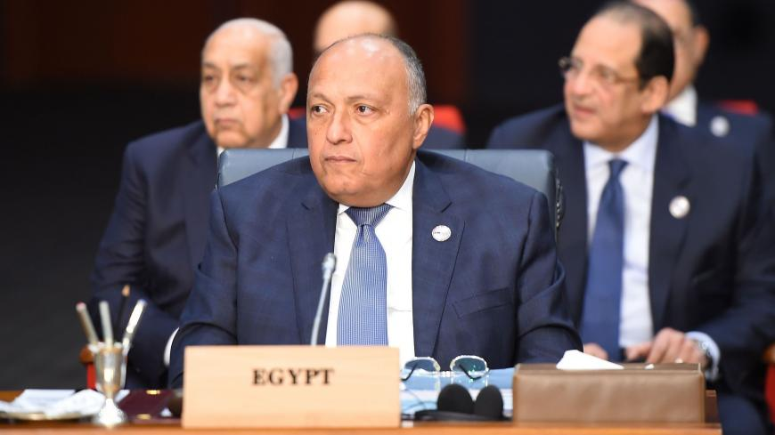 Egypt's Foreign Minister Sameh Shoukry attends the first joint European Union and Arab League summit at the International Congress Centre in the Egyptian Red Sea resort of Sharm el-Sheikh, on February 24, 2019. (Photo by MOHAMED EL-SHAHED / AFP)        (Photo credit should read MOHAMED EL-SHAHED/AFP via Getty Images)