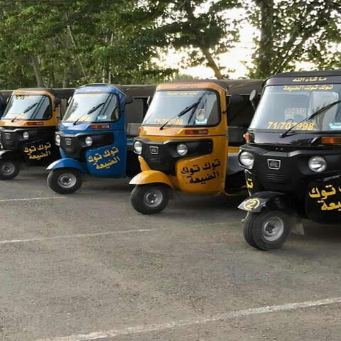 Tuk-tuks are lined up in the village of Bir Elias, Aug. 8, 2020.