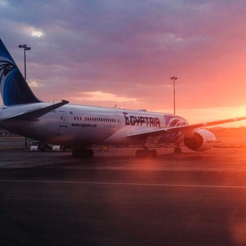 This picture taken on Jan. 16, 2020, shows an EgyptAir Boeing 787-9 Dreamliner jet parked on the tarmac at Cairo International Airport outside the Egyptian capital.