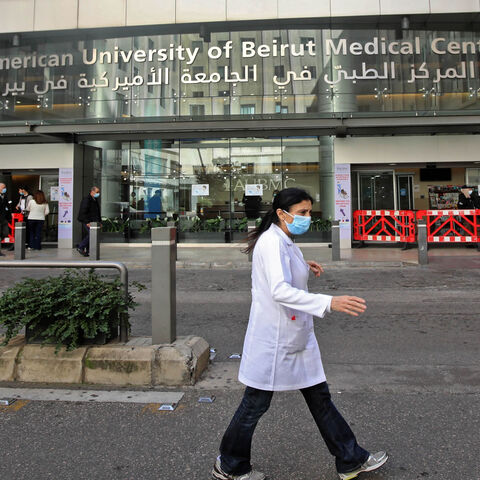 Medical staff are pictured outside the American University of Beirut Medical Center, Beirut, Lebanon, March 17, 2021.
