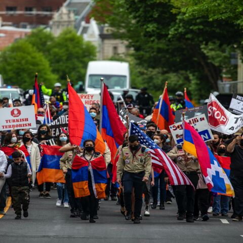 "Supporters of Armenian stand off with Turkish supporters outside the Turkish Embassy on April 24, 2021, in Washington, DC. President Joe Biden became the first US president to formally refer to atrocities committed against Armenians as a ""genocide"" on Saturday, 106 years after the 1915 start of an eight-year-long campaign of ethnic cleansing."