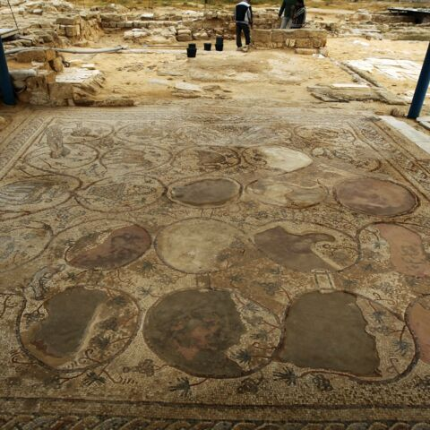 A large mosaic is pictured at the archaeological site of the St. Hilarion Monastery, one of the largest Christian monasteries in the Middle East, in Tell Umm al-Amr close to Deir al-Balah, in the central Gaza Strip, on March 19, 2013. The earliest building dates back to the fourth century and is attributed to St. Hilarion, a native of the Gaza region and the father of Palestinian monasticism. Abandoned after a seventh-century earthquake and uncovered by local archaeologists in 1999, today the settlement asp