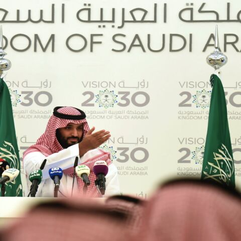 "Saudi Defense Minister and Deputy Crown Prince Mohammed bin Salman gives a press conference in Riyadh, on April 25, 2016. The key figure behind the unveiling of a vast plan to restructure the kingdom's oil-dependent economy, the son of King Salman has risen to among Saudi Arabia's most influential figures since being named second-in-line to the throne in 2015. Salman announced his economic reform plan known as ""Vision 2030."""