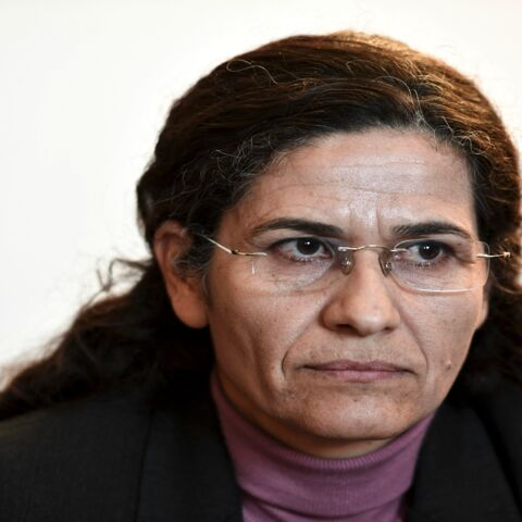One of the two top political leaders of the Syrian Kurdish alliance and co-chair of the Syrian Democratic Council Ilham Ahmed attends a press conference, in Paris, on Dec. 21, 2018.
