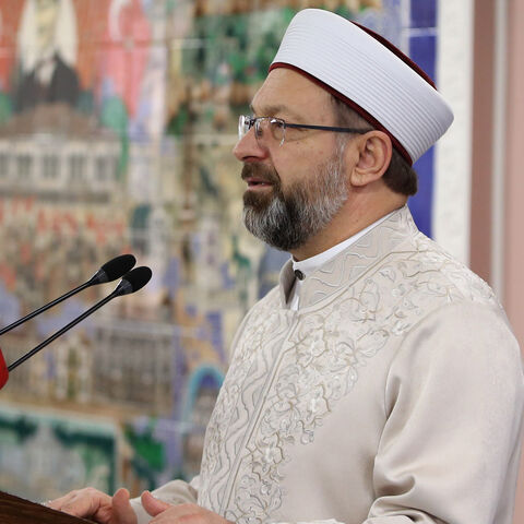 Head's of Turkeys Religious Affairs Directorate Ali Erbas holds a press conference in Ankara, Turkey on March 15, 2019.