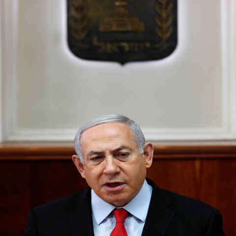 Israeli Prime Minister Benjamin Netanyahu chairs a Cabinet meeting, as an escalation of violence raged for a second day in the Gaza Strip, Jerusalem, Nov. 13, 2019.