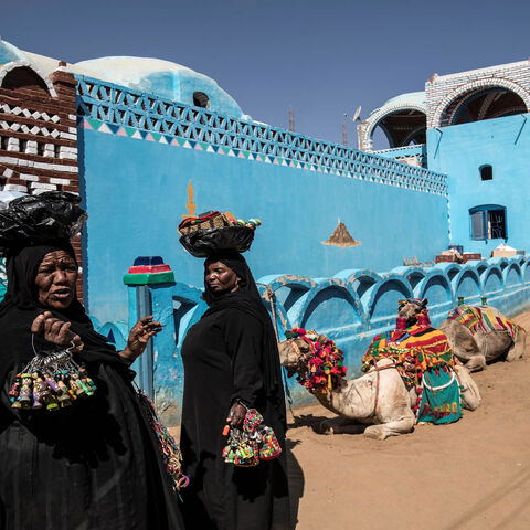 Nubian Egyptian women sell souvenirs in the village of Gharb Suhail near Aswan, Upper Egypt, Feb. 5, 2020.