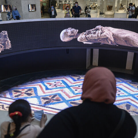 A screening about the royal mummies inside the new National Museum of Egyptian Civilization, in Cairo, Egypt, April 04, 2021.