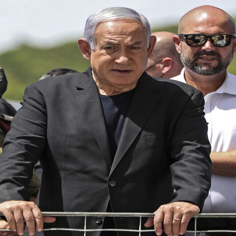 Israeli Prime Minister Benjamin Netanyahu visits the site of an overnight stampede during an ultra-Orthodox religious gathering in the northern town of Meron, Israel, April 30, 2021.