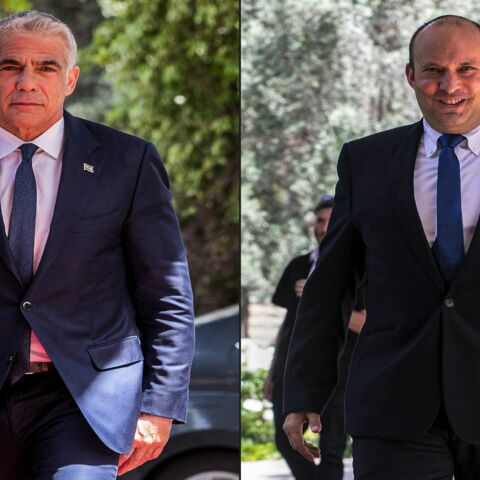 This combination of pictures taken on May 5, 2021, shows (L to R) leader of Israel's Yesh Atid (There Is a Future) party Yair Lapid, and leader of the Yamina (Right) party Naftali Bennett, arriving at the Israeli president's residence in Jerusalem.