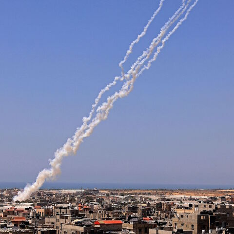 Rockets are launched towards Israel from Rafah, in the south of the Gaza Strip, controlled by the Palestinian Hamas movement, on May 12, 2021.