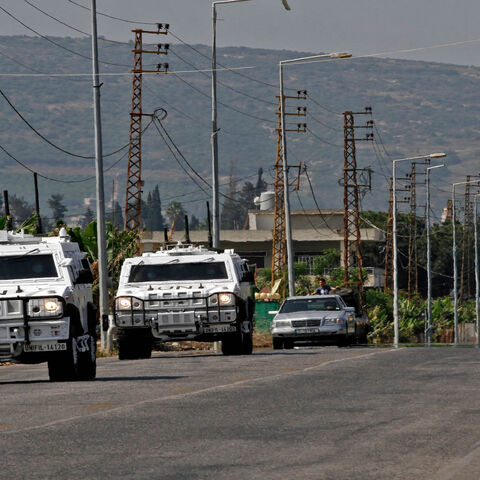 United Nations peacekeeping forces in Lebanon (UNIFIL) patrol in the town of Qlaile, Lebanon, May 14, 2021. Three rockets were fired from southern Lebanon toward Israel, a Lebanese military source said.
