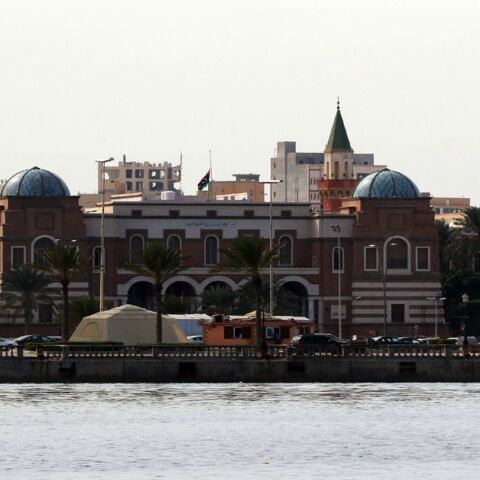 A picture taken on Nov. 5, 2015, during a tour with the Libyan coastguard shows the Central Bank of Libya in the capital, Tripoli.