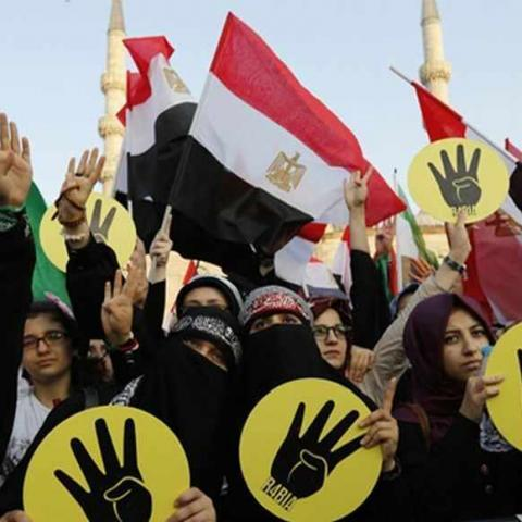 Supporters of Egypt's deposed Islamist President Mohamed Mursi and the Muslim Brotherhood wave Egyptian flags during a rally in protest against the recent violence in Egypt, outside of the Eminonu New mosque in Istanbul August 17, 2013. REUTERS/Murad Sezer (TURKEY  - Tags: POLITICS CIVIL UNREST) - RTX12P9I