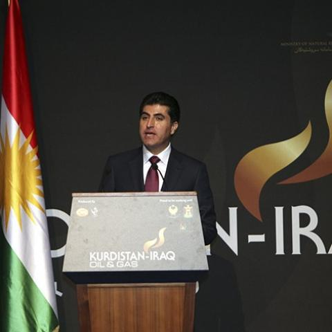 Iraq's Kurdistan Prime Minister Nechirvan Barzani speaks at the Iraq-Kurdistan Oil and Gas Conference at Arbil in Iraq's Kurdistan region, December 2, 2013. Turkey said on Monday it stood by a bilateral oil deal with Iraq's Kurdistan region that bypassed central government but wanted to win Baghdad's support by drawing it into the arrangement. Reuters reported that Turkey and Iraqi Kurdistan signed a multi-billion-dollar energy package last week, infuriating a central Baghdad government which claims sole au