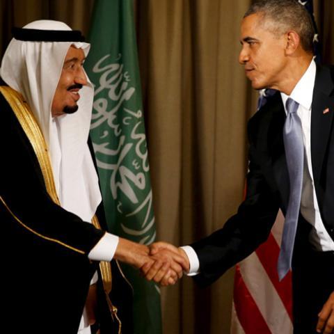 U.S. President Barack Obama shakes hands with Saudi Arabia's King Salman after their meeting alongside the G20 summit at the Regnum Carya Resort in Antalya, Turkey, November 15, 2015. REUTERS/Jonathan Ernst - RTS77JX