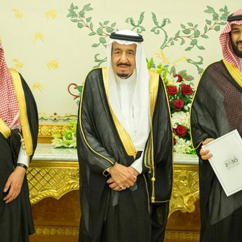 (L-R) Saudi Crown Prince Mohammed bin Nayef, Saudi King Salman, and Saudi Arabia's Deputy Crown Prince Mohammed bin Salman stand together as Saudi Arabia's cabinet agrees to implement a broad reform plan known as Vision 2030 in Riyadh, April 25, 2016. To match Insight SAUDI-PLAN/PRINCE  Saudi Press Agency/Handout/File Photo via REUTERS.    ATTENTION EDITORS - THIS IMAGE WAS PROVIDED BY A THIRD PARTY. EDITORIAL USE ONLY. NO RESALES. NO ARCHIVE.  - RTX2CU2M