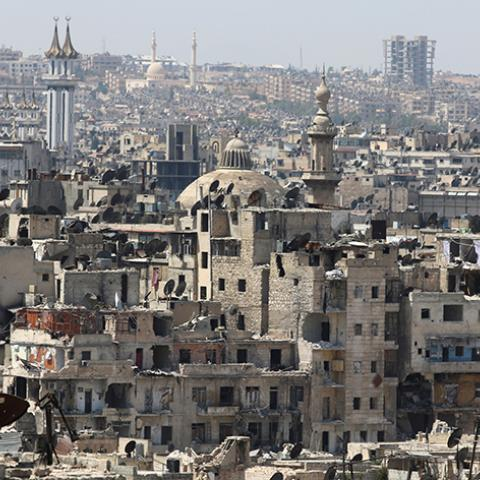 A general view shows government-controlled areas of Aleppo as seen from rebel-held part of the city, Syria August 22, 2016. REUTERS/Abdalrhman Ismail - RTX2MKAQ
