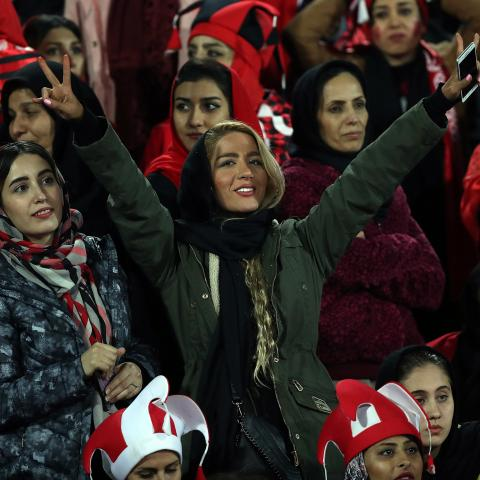 TEHRAN, IRAN - NOVEMBER 10: fans of Persepolis looks on during the AFC Champions League final second leg match between Persepolis and Kashima Antlers at Azadi Stadium on November 10, 2018 in Tehran, Iran. (Photo by Amin M. Jamali/Getty Images)