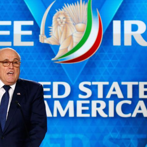 Rudy Giuliani, former Mayor of New York City, delivers his speech as he attends the National Council of Resistance of Iran (NCRI), meeting in Villepinte, near Paris, France, June 30, 2018.  REUTERS/Regis Duvignau - RC1B635374A0