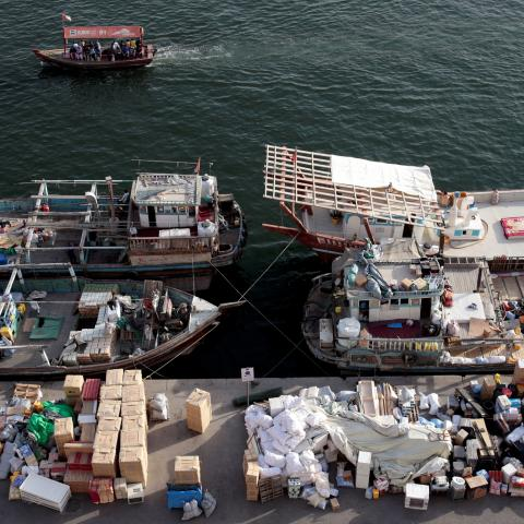 Goods wait to be loaded on dhows bound for Iran along the creek in old Dubai, United Arab Emirates November 5, 2018. Picture taken November 5, 2018. REUTERS/Christopher Pike - RC1B41189A80