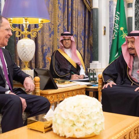 Saudi Arabia's King Salman bin Abdulaziz meets with Russia's Foreign Minister Sergei Lavrov in Riyadh, Saudi Arabia March 5, 2019. Bandar Algaloud/Courtesy of Saudi Royal Court/Handout via REUTERS ATTENTION EDITORS - THIS PICTURE WAS PROVIDED BY A THIRD PARTY. - RC13B1B19C40