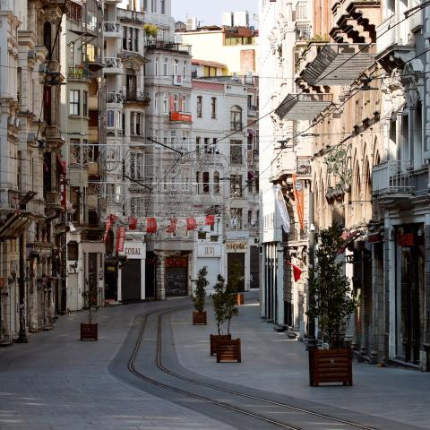 A general view shows the deserted Istiklal Street during a two-day curfew which was imposed to prevent the spread of the coronavirus disease (COVID-19), in Istanbul, Turkey, April 11, 2020. REUTERS//Umit Bektas - RC2H2G9Y460H