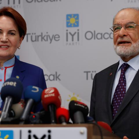 Saadet Party leader Karamollaoglu speaks after meeting with Iyi Party leader Aksener at Iyi Party headquaters in Ankara, Turkey April 24, 2018. REUTERS/Murad Sezer - RC11C9891450