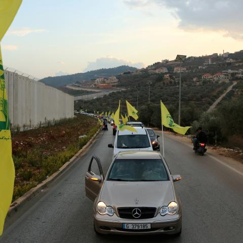 Supporters of Lebanon's Hezbollah leader Sayyed Hassan Nasrallah ride in a convoy in the southern village of Kfar Kila, Lebanon October 25, 2019. REUTERS/Aziz Taher - RC1C5391F8B0
