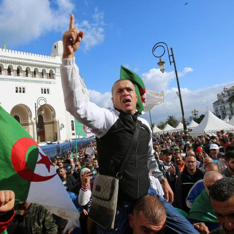 A demonstrator gestures as he shouts slogans during a protest against the country's ruling elite and rejecting December presidential election in Algiers, Algeria October 25, 2019. REUTERS/Ramzi Boudina - RC199B1A09B0
