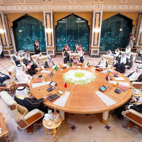 General view of the Gulf Cooperation Council (GCC) summit in Mecca, Saudi Arabia, May 30, 2019. Picture taken May 30, 2019. Bandar Algaloud/Courtesy of Saudi Royal Court/Handout via REUTERS ATTENTION EDITORS - THIS IMAGE WAS PROVIDED BY A THIRD PARTY. - RC14404B7D30