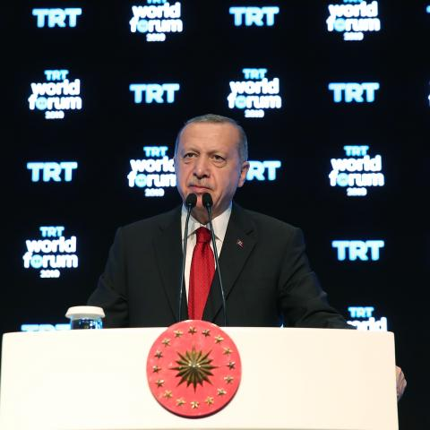 "ISTANBUL, TURKEY - OCTOBER 21: President of Turkey Recep Tayyip Erdogan speaks during TRT World Forum 2019, held under main theme of ""Globalization in Retreat: Risks and Opportunities"" in Istanbul, Turkey on October 21, 2019. (Photo by Murat Kula/Anadolu Agency via Getty Images)"