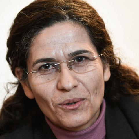 One of the two top political leaders of the Syrian Kurdish alliance and co-chair of the Syrian Democratic Council Ilham Ahmed delivers a speech during a press-conference, in Paris, on December 21, 2018. - Two top political leaders of the Syrian Kurdish alliance battling the Islamic State group visit Paris for talks on the planned US military withdrawal from Syria, an alliance representative said. (Photo by STEPHANE DE SAKUTIN / AFP)        (Photo credit should read STEPHANE DE SAKUTIN/AFP via Getty Images)