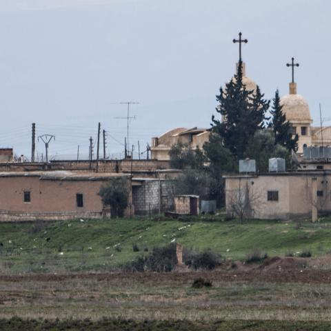 A general view shows a church in the Assyrian village of Abu Tina, which was recently captured by Islamic State fighters, February 25, 2015. Kurdish militia pressed an offensive against Islamic State in northeast Syria on Wednesday, cutting one of its supply lines from Iraq, as fears mounted for dozens of Christians abducted by the hardline group. The Assyrian Christians were taken from villages near the town of Tel Tamr, some 20 km (12 miles) to the northwest of the city of Hasaka. There has been no word o