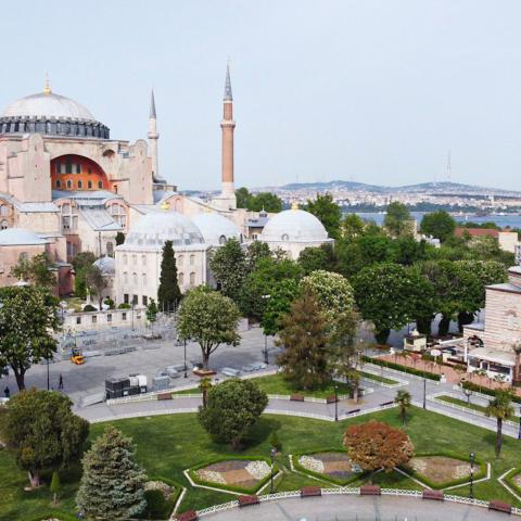 ISTANBUL, TURKEY - MAY 18: Hagia Sophia and its surroundings remain empty during the third day of the 4-day coronavirus restrictions imposed to stem the novel COVID-19 pandemic in Istanbul, Turkey on May 18, 2020. (Photo by Erhan Sevenler/Anadolu Agency via Getty Images)