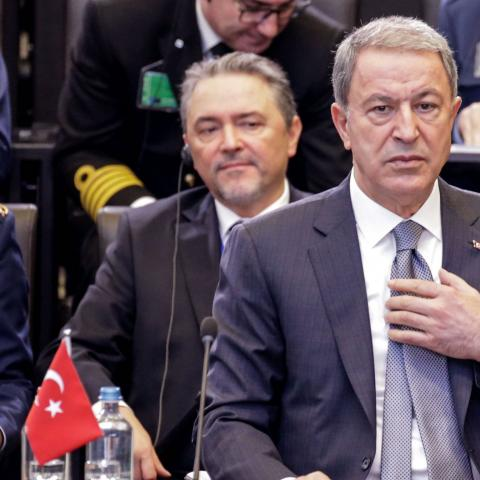 Turkish National Defense Minister Hulusi Akar attends a NATO defence ministers meeting in Brussels on February 13, 2020, to address key issues including the Alliances training mission in Iraq and the fight against international terrorism. - Ministers will also discuss NATOs presence in Afghanistan, the challenges posed by Russias missile systems and NATO-EU cooperation. (Photo by Aris Oikonomou / AFP) (Photo by ARIS OIKONOMOU/AFP via Getty Images)
