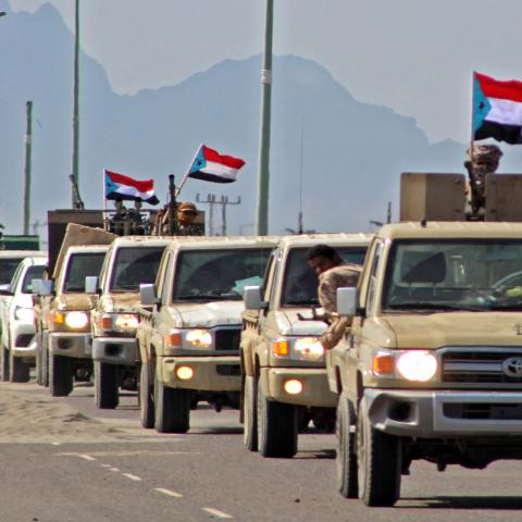 A reinforcement convoy of Yemen's Security Belt Force dominated by members of the the Southern Transitional Council (STC) seeking independence for southern Yemen, heads from the southern city of Aden to Abyan province on November 26, 2019, amid tensions with the forces of Saudi-backed President Abedrabbo Mansour Hadi. - Saudi Arabia brokered on November 5 a power sharing agreement between Yemen's internationally recognised government and southern separatists of the STC, in a bid to end infighting that had d