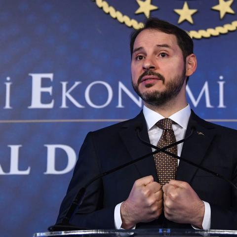 Turkish Treasury and Finance Minister Berat Albayrak addresses a press conference to announce his new economic policy and reforms in Istanbul on April 10, 2019. (Photo by OZAN KOSE / AFP)        (Photo credit should read OZAN KOSE/AFP via Getty Images)