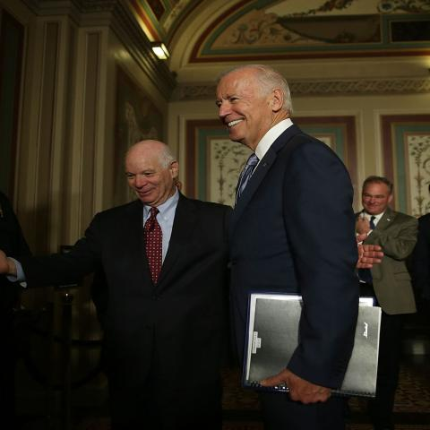 WASHINGTON, DC - JULY 16:  U.S. Vice President Joseph Biden (2nd L) arrives at a meeting with Senate Foreign Relations Committee members as he is welcomed by Sen. Ben Cardin (D-MD) (L) July 16, 2015 at the U.S. Capitol in Washington, DC. Vice President Biden was on the Hill to pitch the Iran nuclear deal. Sen. Tim Kaine (D-VA) (3rd L) and Sen. Chris Murphy (D-CT) (4th L) also attended the meeting.  (Photo by Alex Wong/Getty Images)