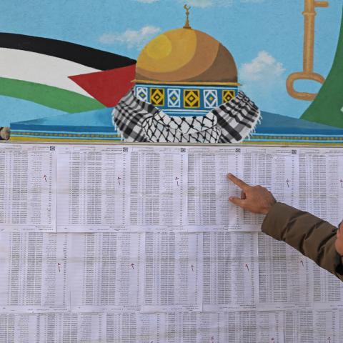 A Palestinian man looks for his name on the electoral roll at a school in Gaza City on March 3, 2021, ahead of the first Palestinian elections in 15 years. - A deal reached between Palestinian rivals Fatah and Hamas to hold elections is aimed at renewing confidence in Palestinian governance ahead of a diplomatic push and talks with Israel. The parliamentary and presidential polls are set for May 22 and July 31, respectively. (Photo by Mohammed ABED / AFP) (Photo by MOHAMMED ABED/AFP via Getty Images)